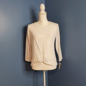 STYLE & CO Bright White Faux Knot 3/4 Sleeve Top P